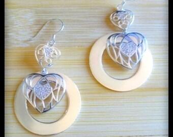 Heart of Hearts **Silver Filigree Dangle & Drop Earrings