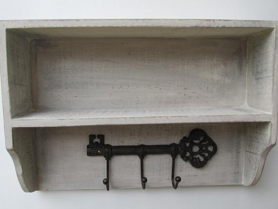 shabby chic rustic entryway shelf wall shelf key rack. Black Bedroom Furniture Sets. Home Design Ideas