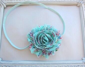 Mint Baby Headband - Shabby Flower Headband - Baby Girl Headband, Newborn Girl Headband, Sizes Newborn to Adult
