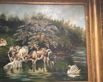Antique oil painting cows and a swan