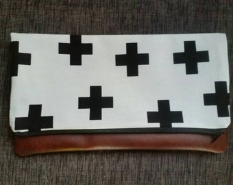 Leather foldover clutch purse