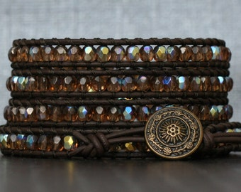 brown crystal bracelet - topaz crystal wrap bracelet on black brown leather - earth tone - neutral - boho glam jewelry