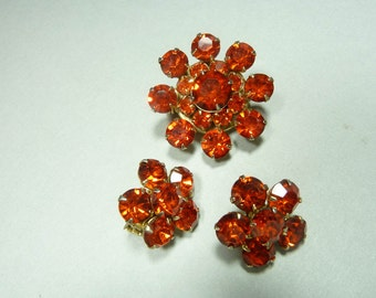 Vintage Red Rhinestone Scatter Pins, Set of 3 Brooches,
