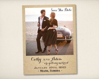 """Save The Date Magnet, Modern Rustic Magnet, Wedding Save The Date, Swirl Save The Date Magnet, 4.25"""" x 5.5"""" Photo Magnets (CarolynaDrive)"""