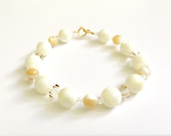 Mother of Pearl 14K Gold Bracelet • Shell Beaded Bracelet • 14k Gold Bracelet • 14k Gold Clasp • Czech Crystal