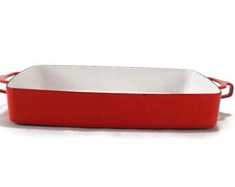 Dansk Kobenstyle Enamel on Steel Roasting Pan * Red * Danish Modern Design * Jens Quistgaard Lasagna Pan