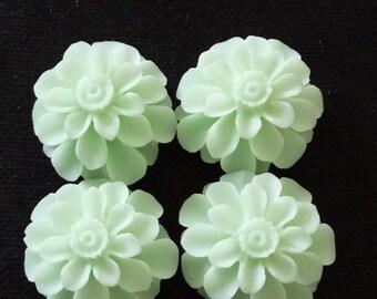 12pcs  of resin chrysanthemum cabochon 18x8mm-Rc0020  mint green