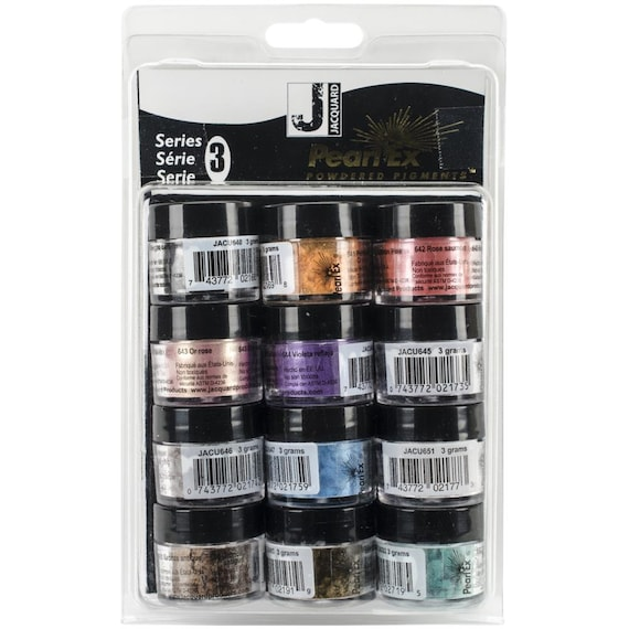Pearl Ex Series 3 Powdered Pigments set. 3g - 12/Pkg,  by Jacquard.  Mica, powdered pigments