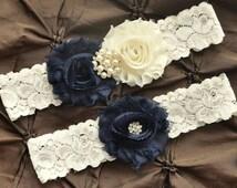 Navy Wedding Garter, Bridal Garter Set - Ivory Lace Garter, Keepsake Garter, Toss Garter, Shabby Chiffon Rosette Navy & Ivory Wedding Garter
