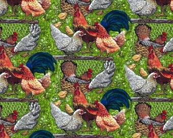 Down on the Farm 8185 Chickens, Green from Blank Quilting
