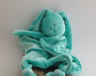 Aqua turquoise blue green bunny-rabbit bamboo blankie