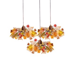 Triple Pendant Chandelier ceiling lighting - Iber color flowers and leaves for Kitchen Island, Dinning Room.