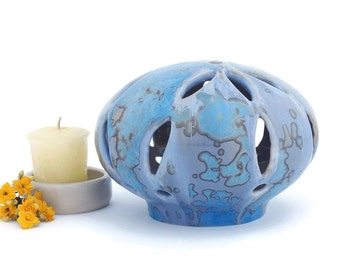 Ceramic Tea Light Candle Holder Crystal Glazed for Small Candles in Shades of Blue and Mauve