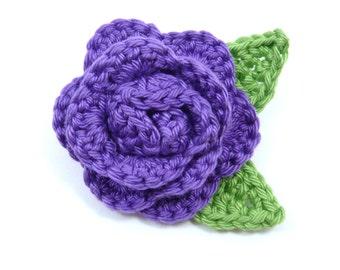Large purple crochet rose brooch (2 1/2 ins diameter excluding leaves)