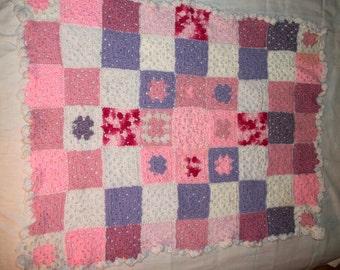 Baby blanket - Handmade Crochet Afghan - Crocheted Granny Square Blanket - Pink Lavender White - Nursery blanket - Crib blanket