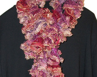Sashay Scarf, Crocheted Scarf, Ruffled Scarf, Infinity Scarf, Knitted Scarf, Scarves, Cranberry, Lavender,