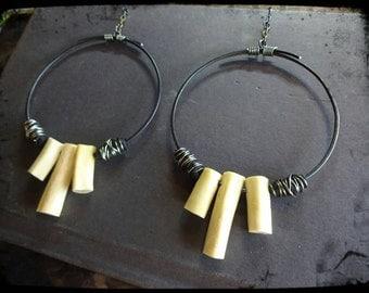 Hammered Wire Hoop & Bone Earring's