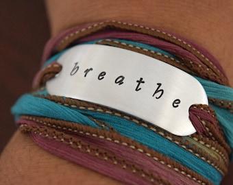 Breathe Hand Stamped Ribbon Wrap Bracelet
