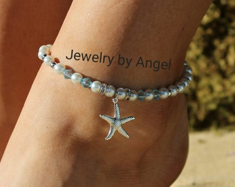 Starfish Pearl and Crystal Anklet - Starfish Jewelry - Beach Wear