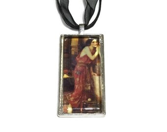 Thisbe Pendant, John Waterhouse Art Pendant, 2x1 Inch Pendant, Black Organza and Stringing Necklace