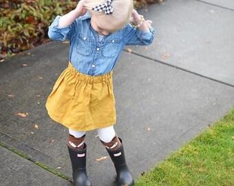 Mustard yellow linen ruffle top skirt baby toddler handmade