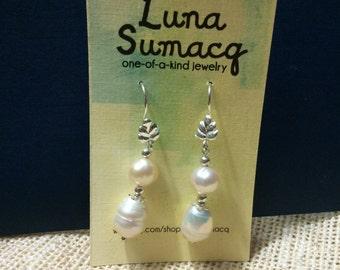Freshwater pearl + silver earrings