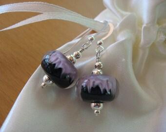 Sale Earrings, Boro Lampwork Earrings, Sale Jewelry, Handmade Lampwork, Borosilicate Glass Earrings, Lavender Black Earrings, Boro Lampwork