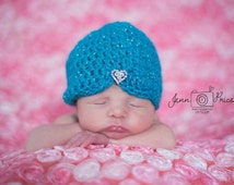Turban baby hat, crochet baby turban hat, glittery blue hat, blue turban hat, newborn photo props, baby girl photo props