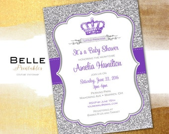 Baby Shower Invitation - Princess Crown for Girl and Silver Glitter- DIY Printable - Purple