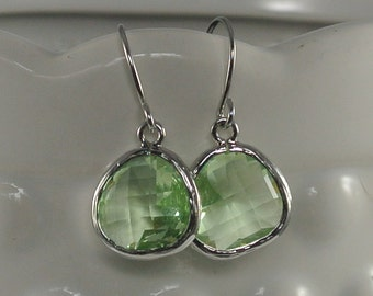 Light Peridot Glass Dangle Earrings Made with White Gold.