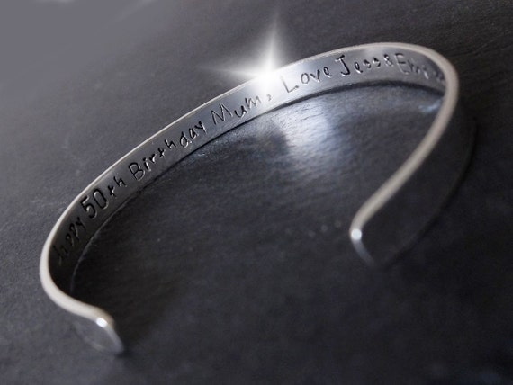 Personalised Bangle with Message, Personalised Bangle with Names, Mothers Day Gift, Song Lyrics Bangle, Childrens Names Bangle, Silver