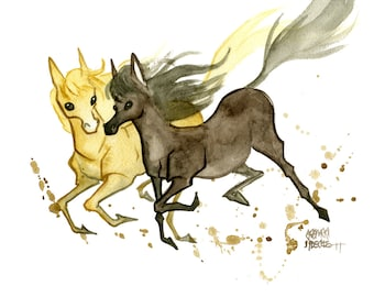 Horses, Original Watercolor Painting