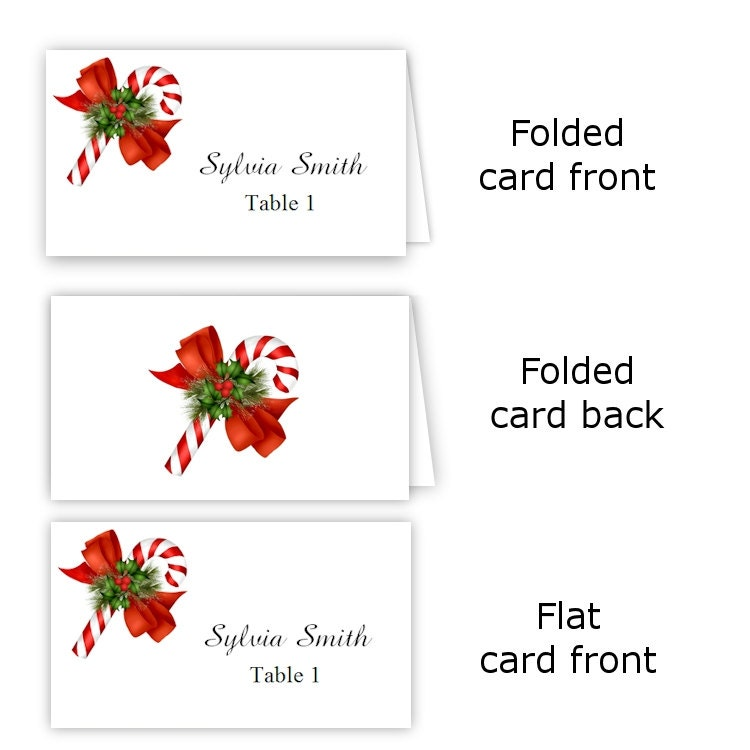 Candy cane folded table tent flat place card templates for Table placement cards templates