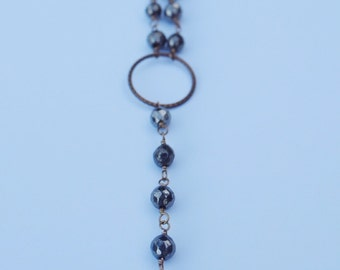 Pyrite Rosary Drop Necklace
