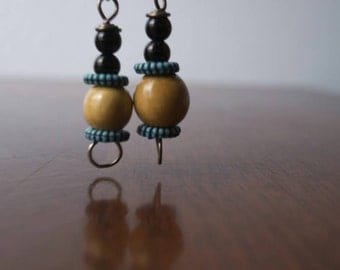 Wooden and Turquoise Bead Earrings