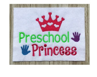Preschool Princess filled stitch design, machine embroidery, back to school, 2 size design, school embroidery