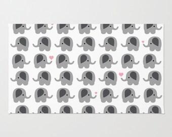 Elephants with Light Pink Coral Hearts - Floor Rug - Floor Mat - Room Rug - Bathroom Decor - Throw Rug - Nursery Art - Made to Order
