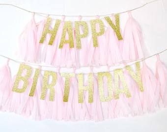 Happy Birthday Glitter Tassel Banner - One Stylish Party