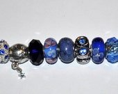 Lot of High Quality Handcrafted Blue Murano European Beads
