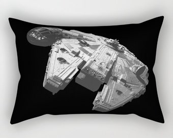 Black and White Millennium Falcon Rectangular Pillow with Insert