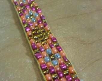 Beaded Woven Bracelet - Pink, Orange, and Yellow