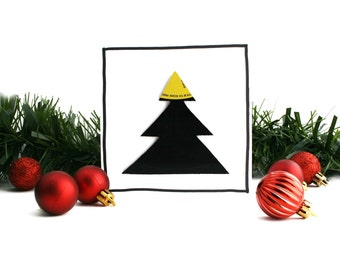 Music Christmas Card | Vinyl Record Tree | Yellow Decoration
