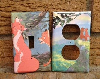 Fox and the Hound Light Switch Cover and Electrical Outlet Cover, Tod and Vixey, Tod and Copper, Fox and the Hound Decor, Decoration, Hound
