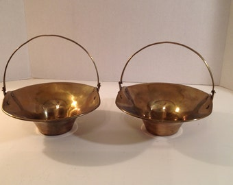 2 Vintage Nut / Candy Dishes with Grape Designs at Handles