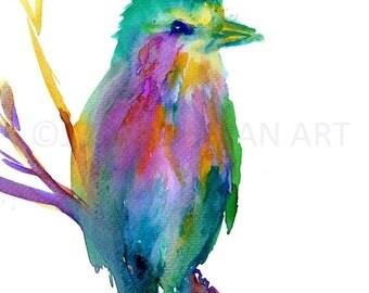 ON SALE Watercolor Print of Bird, Lilac Breasted Roller Art, Bird Painting, Watercolor Bird Print, Abstract Bird Art, Colorful Bird Painting