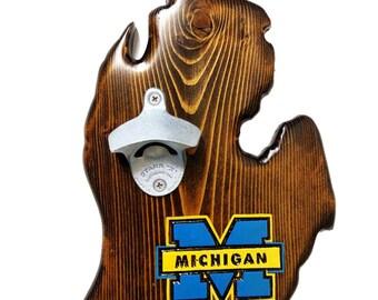 Michigan Wall-Mounted Wooden Bottle Opener