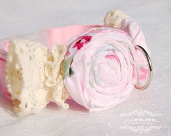 Girl dog collar,Flower collar for your dog,Soft pink shabby Chic dog collar, pink ribbon dog collar,with ivory lace