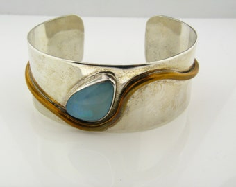 Opal and Sterling Silver Cuff / Bangle Bracelet