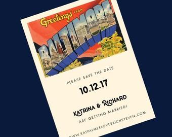 Baltimore Wedding Save the Date // Baltimore Vintage Postcard //