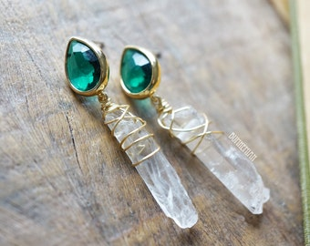 Crystal Quartz + Green Emerald CZ Drop Studs, Crystal Earring Post Studs, Gypsy Moonchild Gift For Her, Earrings